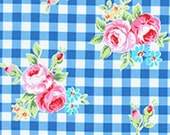 Country Blue White Gingham Plaid Rose Floral 31270 77 Fabric by Lecien Flower Sugar