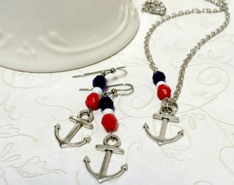 Silver anchor necklace set, red white and blue, nautical jewelry, made in USA, gift set, anchor earrings, summer jewelry
