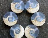Lampwork Beads Sprees (6) Etched Light Blue Ocean Wave