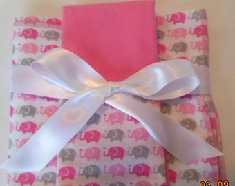 Elephants Flannel Receiving Blanket and Burp Cloth Gift Set