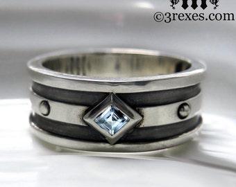 Silver Wedding Ring Moorish Gothic ONE Stone Band Blue Topaz Size 7.75