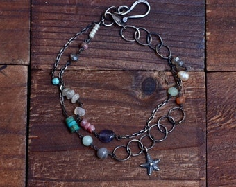 Mixed Stone Double Strand Bracelet - Beach Gemstone Bracelet - Boho Bracelet - Oxidized Sterling Silver Link Bracelet - Starfish Bracelet