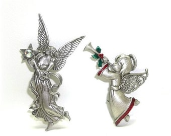 JJ Angel Christmas pin Jonette Xmas brooch LOT of 2
