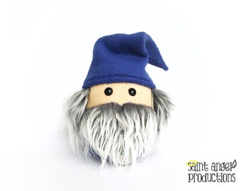 Stuffed Wizard Plush in Royal Blue with Gray and White Beard, Plushoween 2016 Dragon Eye Amulet, READY TO SHIP