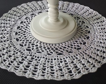 White Doily Crochet Centerpiece Round Table Topper Hand Made 13 Inch