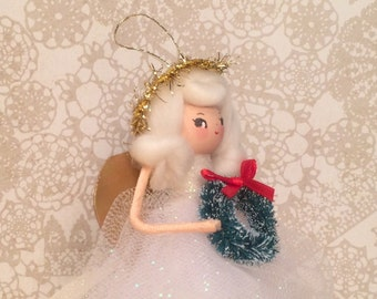 Angel ornament vintage retro inspired angel doll ooak art doll shabby christmas gold cream white blond angel christmas decor