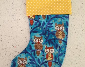 Christmas X'mas Stocking - Owls on Blue
