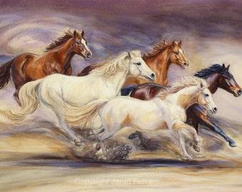Galloping Horses Art Print-'Rachel's Herd' Fine Art Giclee