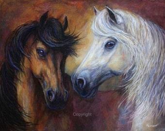 Horse painting Original pastel painting of 'Passion Stirring'
