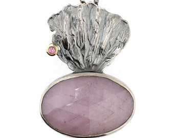 Fan Lichen Oval Pink Sapphire Rose Cut Pendant Nature Jewelry