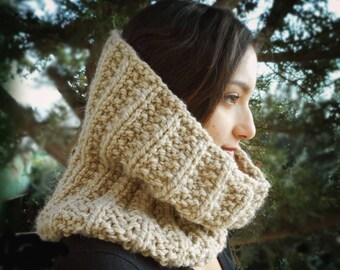Chunky camel cowl snood scarf bulky ecru tan hand knit knitted neck warmer country warm yarn men women handknit gift rustic simple rib beige