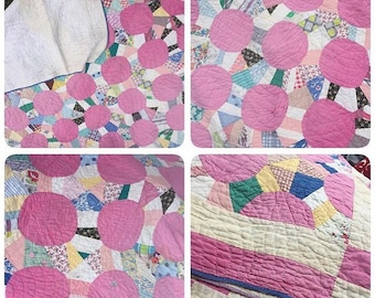 Raspberry Pink - Vintage 40s Patchwork Quilt - Great Color & Fabrics