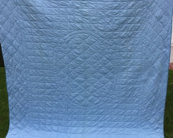 Vintage Hand Quilted Whole Cloth Floral Stitched Pink and Blue Reversible Quilt