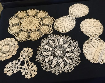 Lot of 6 Vintage Hand Crochet Ecru and White Doilies