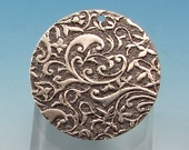 Floral Embossed 1 Inch Round Pendant, Antique Silver, 2 pieces, AS363