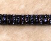 Rhinestone Rondelle, Black, Tanzanite Purple, 6 mm, 12 Pc. C525