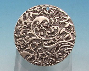 Floral Embossed 1 Inch Round Boho Charm, Antique Silver, 2 pieces, AS363
