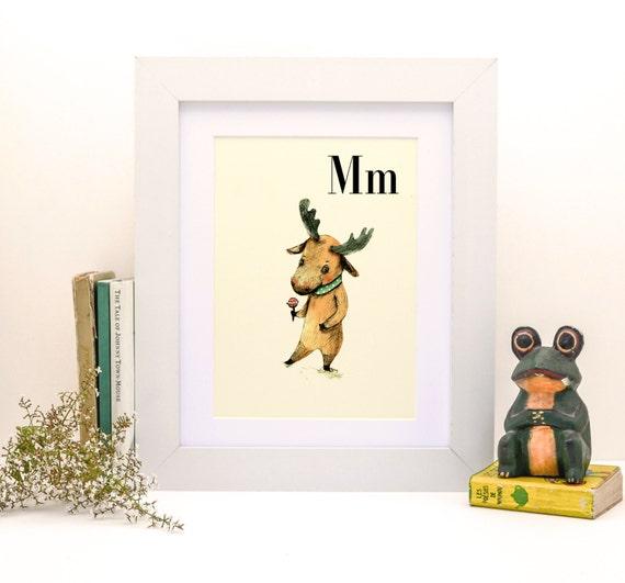 M for Moose - 4x6- Alphabet art - Alphabet print - ABC wall art - ABC print - Nursery art - Nursery decor - Kids room decor - Children's art