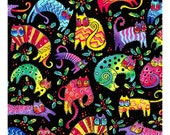 NEW Laurel Burch Fabric Enchantment Cats on Black 1 Yard Y1963-3