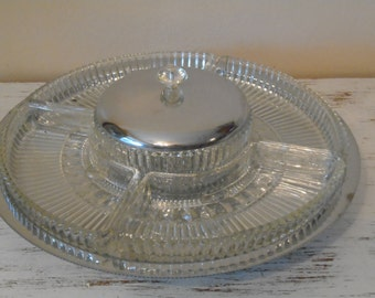 Stainless steel and pressed glass divided lazy susan relish condiment tray with center bowl and steel lid vintage serving piece