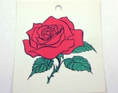 Vintage Children's School Flash Card with Picture for Red Rose in Color