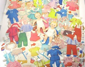 Vintage 1950s Lullaby Cut Out Baby Girl and Boy Paper Dolls and 54 Outfits 47 Accessories