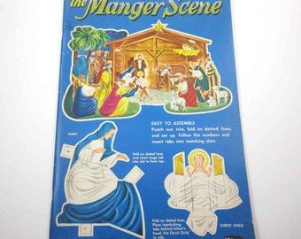 Unused Christmas Manger Press Out Book Vintage 1950s Christmas Activity Book for Children by Whitman
