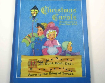 Christmas Carols with The Christmas Story Vintage 1930s Over Sized  Saalfield Children's Book Frank Edwin Peat Illustrator Fern Bisel Peat