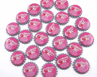 Vintage Pink and Red Cherry Coke Bottle Caps Set of 25