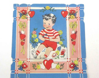 Vintage Antique Valentine Greeting Card with Little Boy in Red Striped Shirt and Shorts