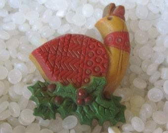 1970s Vintage HALLMARK Christmas Partridge Bird Pin Brooch