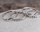 Personalized Stack Ring Sterling Silver - Custom Word or Name Stamped Stacking Ring