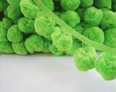 3 to 5 yards Pom Pom Trim - Choose your own yards - Jumbo - Lime Green ( Pom pom size 3.5 cm)