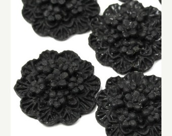 50% Off Sale Plastic Flower Cabochons Scalloped Clusters 20mm Matte Black (3) PC300
