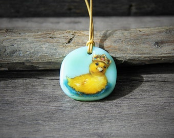 The king of the pond - cute little baby duck Fused glass pendant