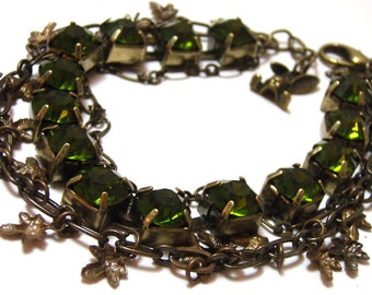 Forest Leaf Charm Bracelet - Antiqued gold and olivine green rhinestone chunky chacha bracelet with leaves and rabbit charm