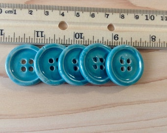 5 Ceramic Buttons Turquoise Sea Green