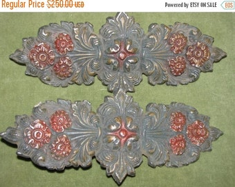 Valentines Day Sale French Fleur de lis Victorian era  1800's Vintage Die Cast Metal art Nouveau style , Architectural relic antique Furnitu