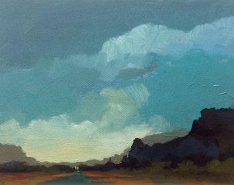 "THE ROCK, oil painting landscape original oil, 100% charity donation, original painting  6""x8"" canvas panel, sky, clouds"
