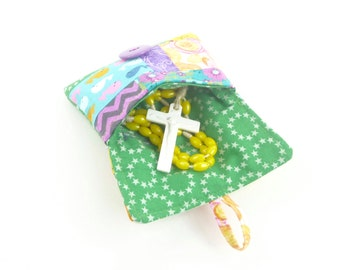 rosary pouch case. green yellow purple spring cute scrap patchwork ear bud pouch. catholic girls first communion gift. baptism confirmation