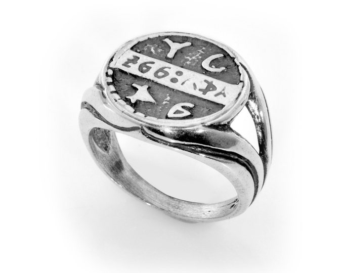 Solid Silver Health Amulet Coin King Solomon Charm Amulet Ring - CHOOSE SIZE