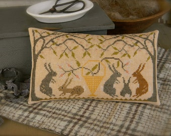 Primitive Cross Stitch PAPER PATTERN - Rabbit Warren - from ©Notforgotten Farm