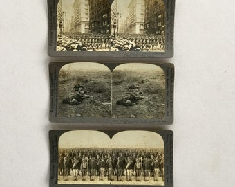 Stereoptic Photograph Cards Military WW1 Soldiers Stereoscope Viewer