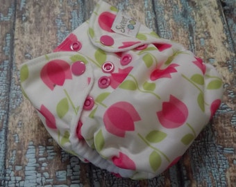 Newborn AI2 Cloth Diaper Natural Cotton Pink Tulips Made to Order