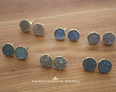 AAA Natural Druzy Round Stud Earrings- Gold Plated (6 available colors)