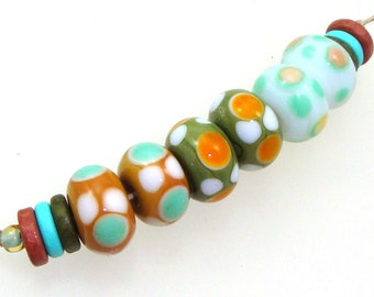 Handmade Lampwork Glass Beads - 3 pairs. Dotties in caramel, olive green, white opal and seafoam. Stacked dots, earring pairs, earth tones.