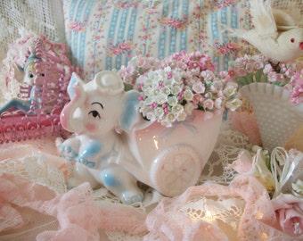 vintage baby elephant nursery planter, vintage baby shower decor, flower holder vase, pale pink, white and blue, 1950s made in japan