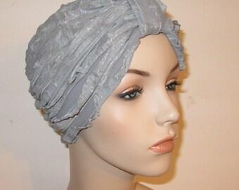 Ruffled Gray Silver Turban, Chemo Hat,  Womens Hat, Alopecia Head cover FREE SHIP USA