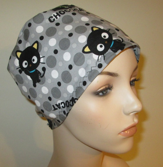 Scrub Cap Chococat  OR Cap Nurses Cap Surgical Cap Free Ship USA Adjustable Pediatric Scrub Cap Chemo Hat