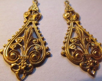 Vintage Brass Earring Pendant (2)(44x20mm)Findings Perfect for Earrings